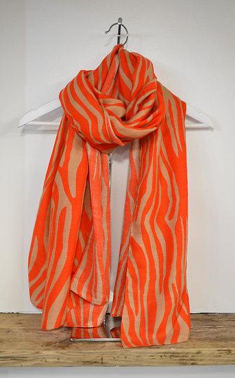 Rino & Pelle Orange & Chestnut Tiger Print Scarf