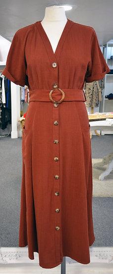 Sugarhill Brighton Rust Linen Midi Dress