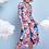 Thumbnail: K-Design Blue/Red Pattern Midi Dress