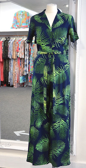 Sugarhill Brighton Navy, Palm Fronds Hazel Batik Jumpsuit