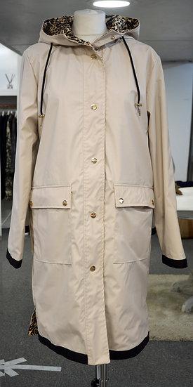 Rino & Pelle Beige/Leopard Reversible Hooded Raincoat