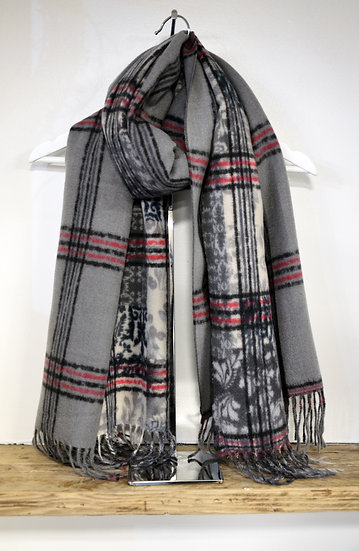 Grey Patterned with Red Stripe Scarf