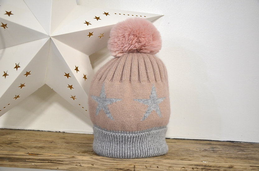 Pink Star Bobble Hat