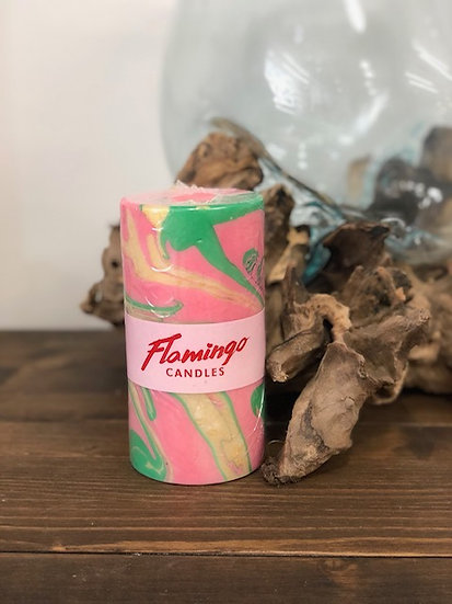 Flamingo Candles Beverly Hills Marble Pillar Candle