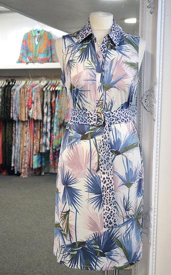 K Design Pink & Blue Floral Print Sleeveless Dress