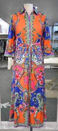 K-Design Orange/Blue Patterned Midi Dress