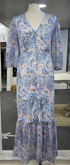 K-Design Blue Paisley Frill Hem Maxi Dress