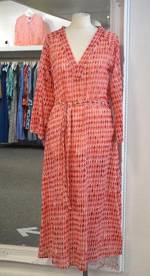 Dream Red/Orange Diamond Patterned Belted Dress