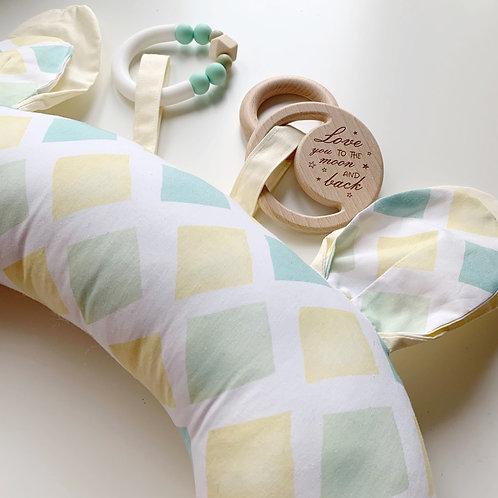 Подушка для игр на животике «Лимонные ромбы» с игрушками