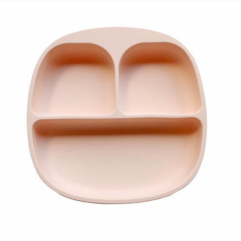 Силиконовая тарелка на присоске с тремя секциями Soft Pink