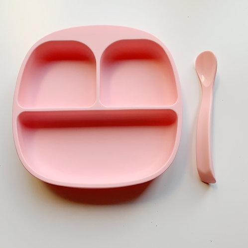Набор силиконовая тарелка на присоске с ложечкой Baby Pink
