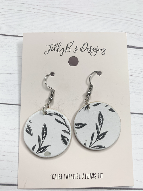 Small floral wood earrings