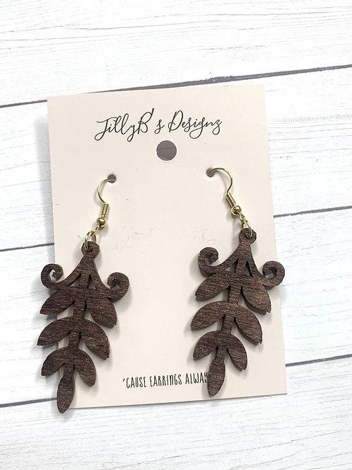Wood Leaf Earrings