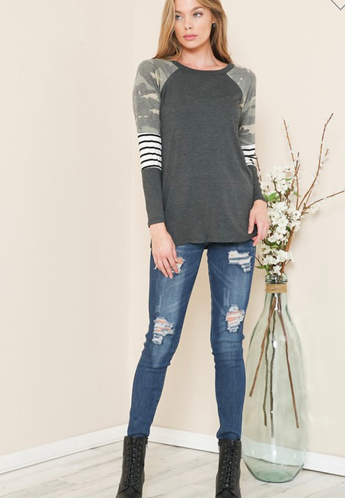 Charcoal & Camo Long Sleeve Top