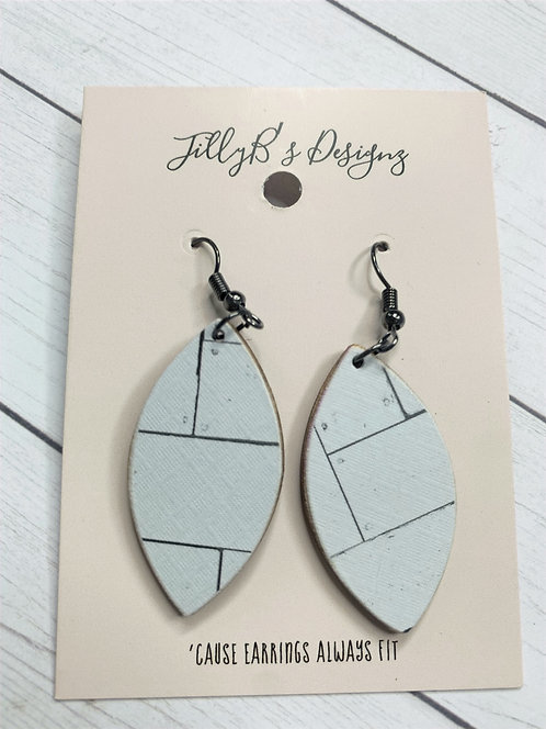 Small Shiplap print wood earrings