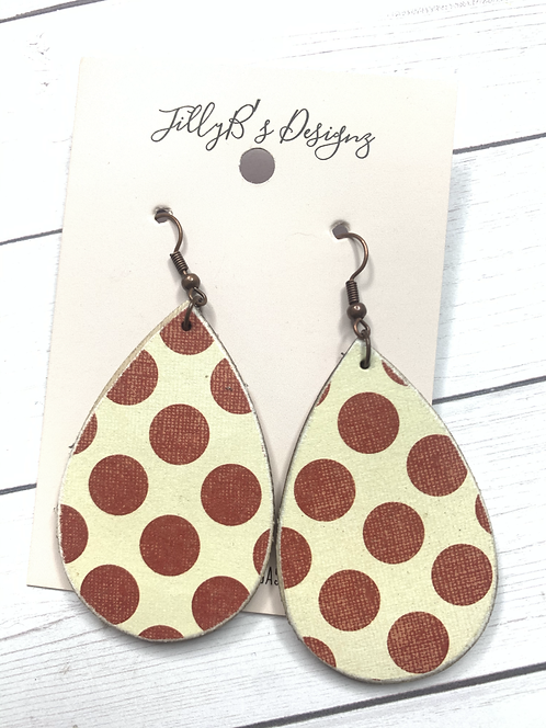 Large teardrops with maroon polkadots