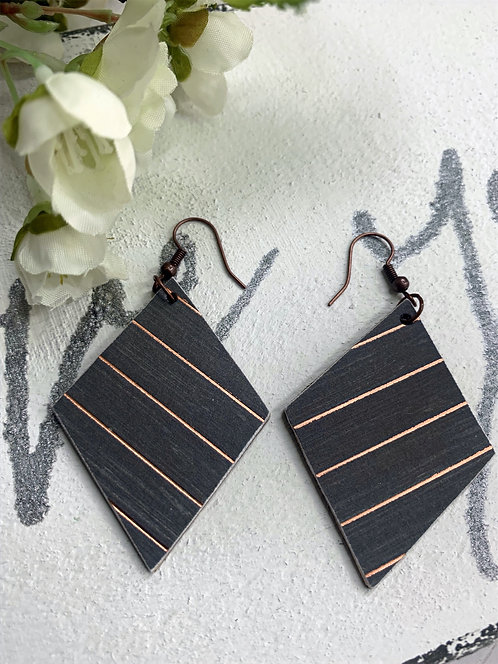 Black with Blush Metallic Stripes