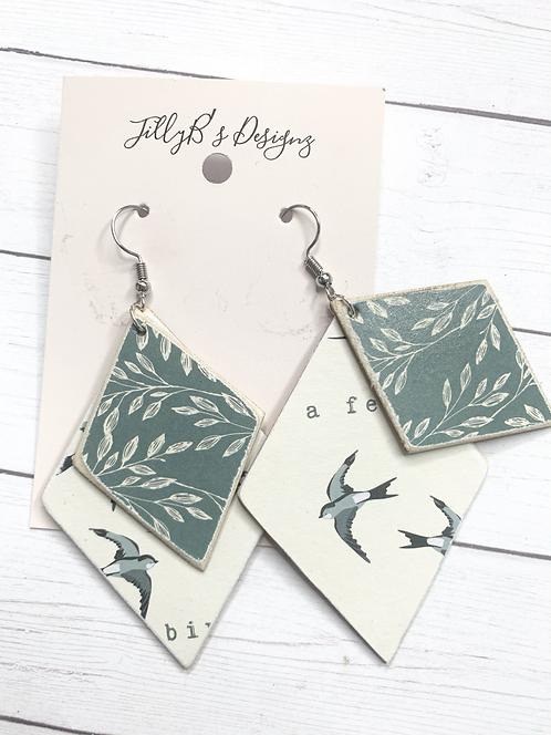 layered wood/print earrings