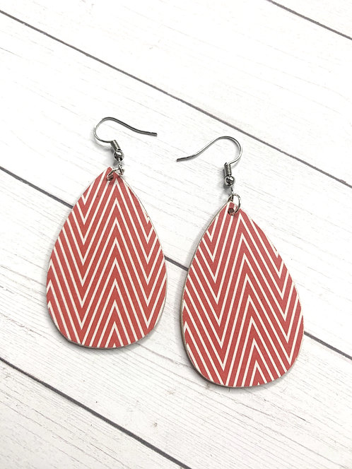 Red/White chevron striped wood earrings
