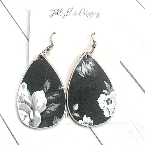 Black/White Floral teardrops