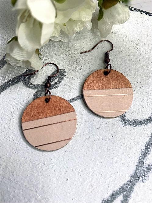 Small Wood/Blush with Metallic Stripes