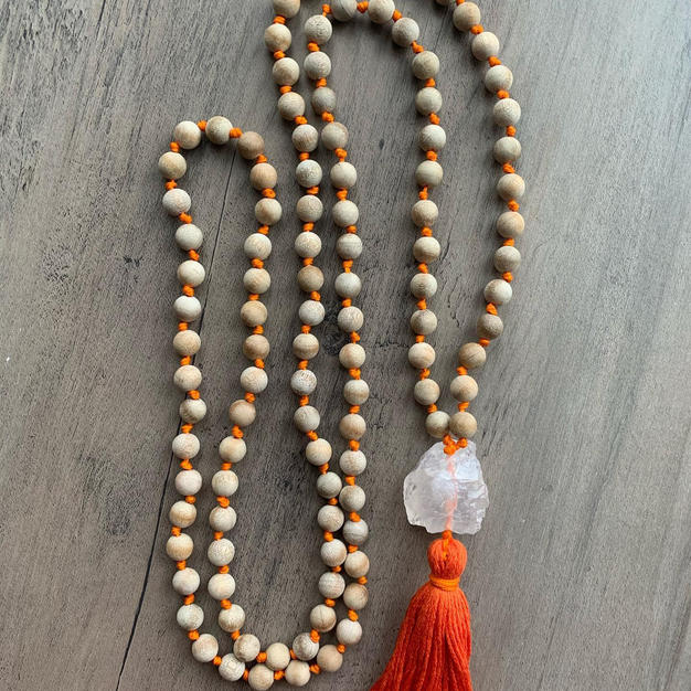 Sandalwood Quartz Mala