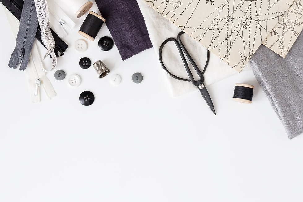Linen textiles, scissors and sewing supp