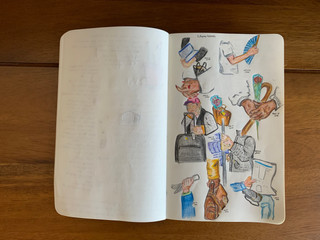 Pencil and color pencil August, 2020 People on the subway