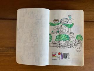 Pen and color pencil Aug 14, 2020 East Village spots