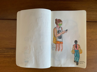 Pencil and color pencil August, 2020 People walking around