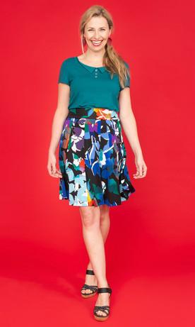 DARCY Peaked Collar Tee / JANE Print Flip Skirt
