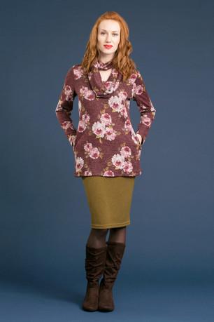 CLAIRE Cowl Sweater - $128 MEG Pencil Skirt - $78