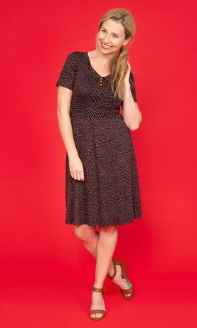 EUGENIE Dotty Peaked Collar Dress