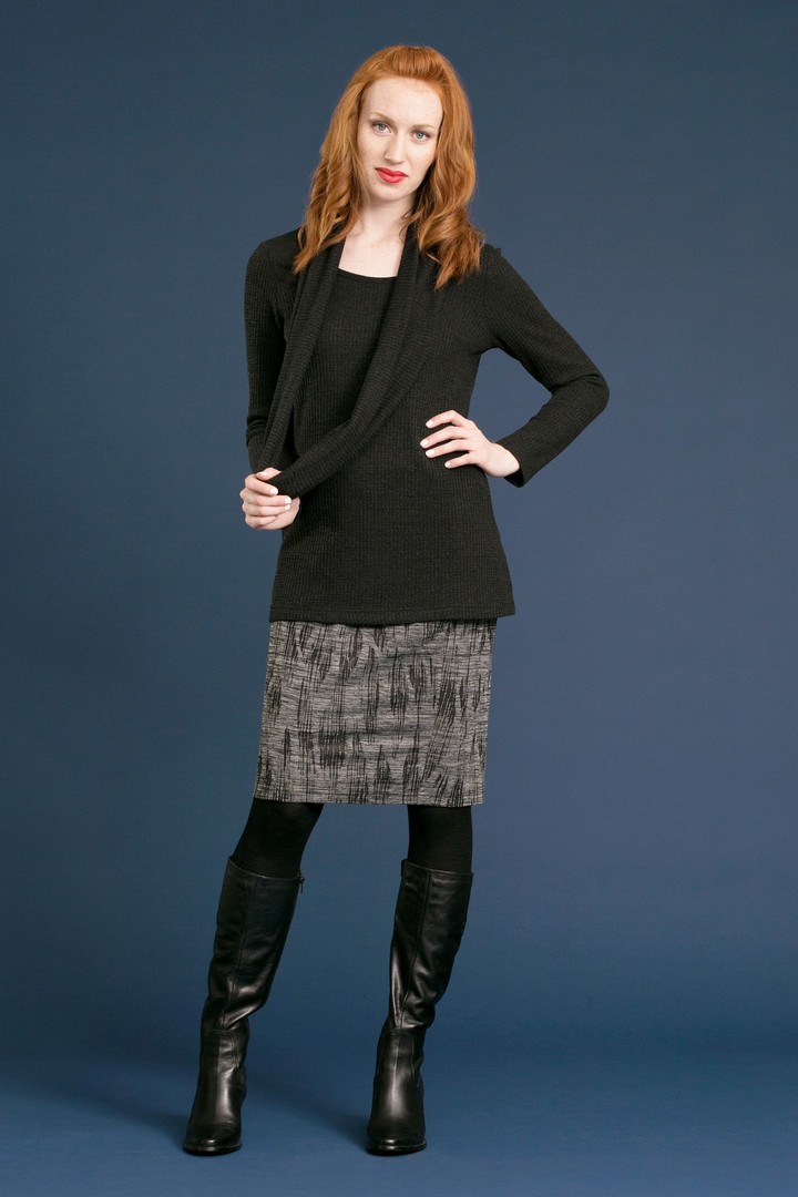 CLARA Cowl Sweater - $118 NASH Penicl Skirt - $88