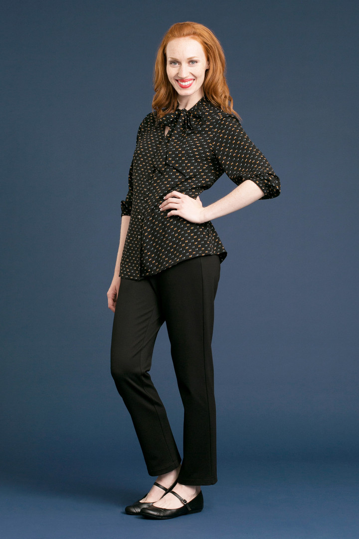 MAGGIE Tie Blouse - $98 DALE Solid Pant - $128