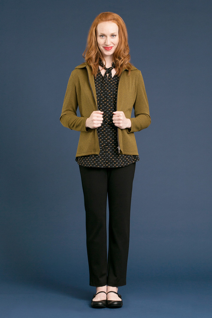 PAX Zip Jacket - $128 MAGGIE Tie Blouse - $98 DALE Solid Pant - $128