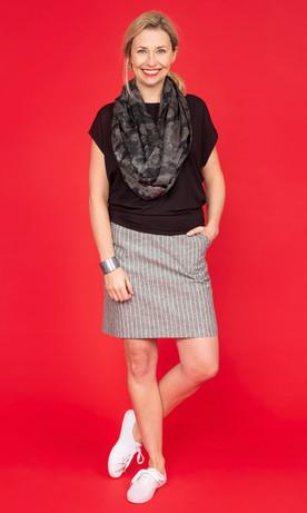 CLEO Slouch Tee / DUNE Linen Stripe Skirt