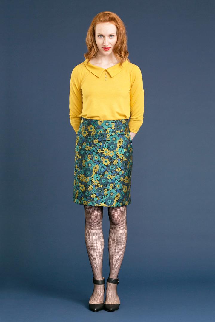 PORTIA Collar Tee - $82 SADIE Jacquard Skirt - $128
