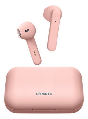 True Wireless semi-in-ear earbuds with charging case