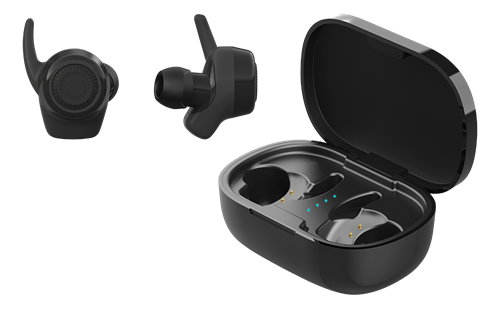 True Wireless stay-in-ear earbuds with charging case
