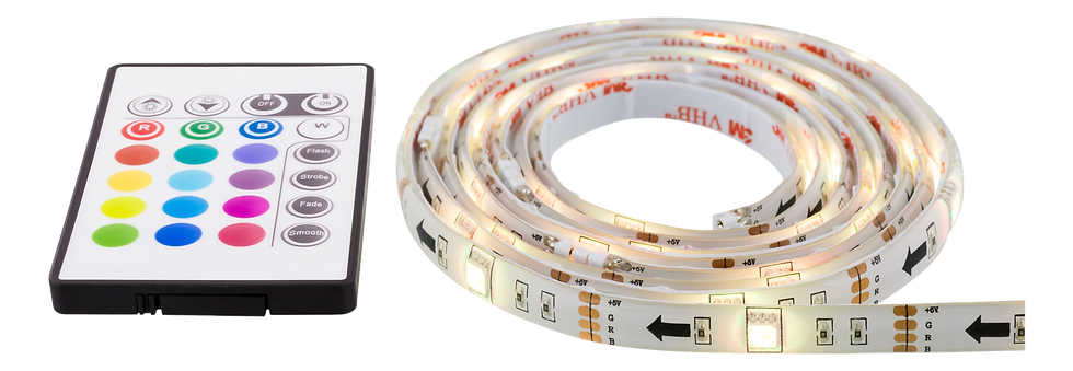 LED-list, 4x50cm, 12 olika färger, 36x RGB LED, fjärrkontroll, USB 5V DC, 30.000