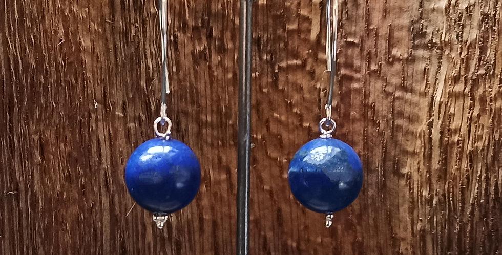 Ørering med elegant krog og lapis lazuli