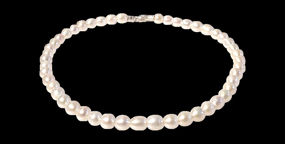 Perlehalskæde med børstet lås