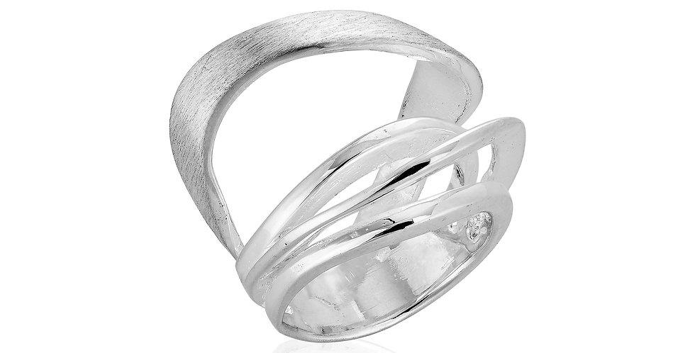 Fingerring i børstet sølv - asymetrisk sølvring