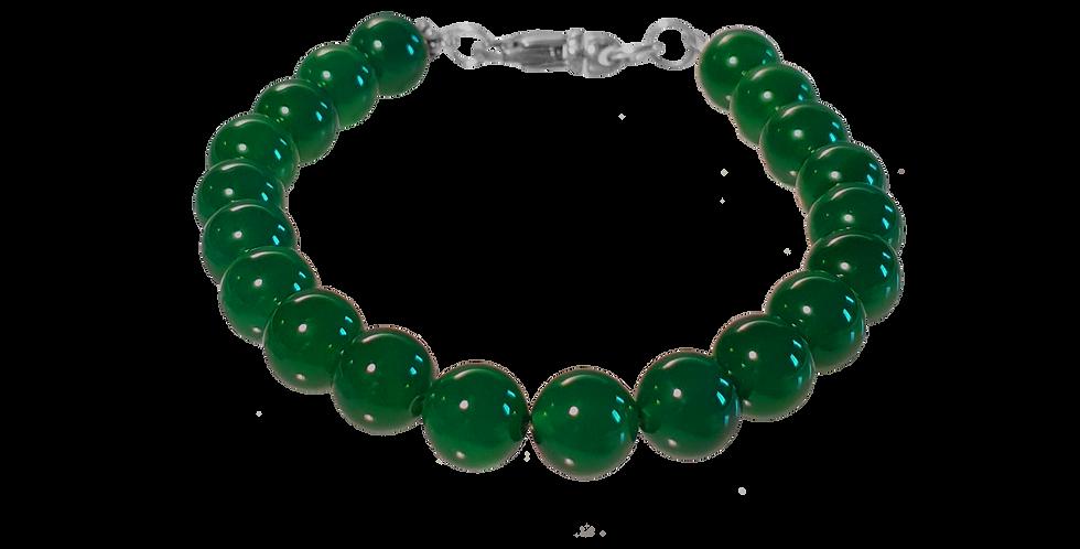 Armbånd med små beads af grøn agat