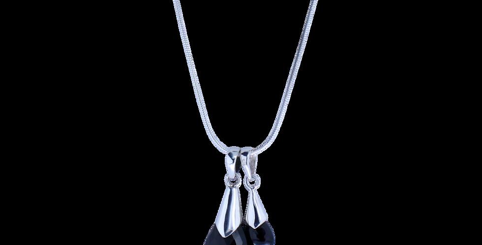 Mor og barn halskæde. sølvhalskæde med sort spinel vedhæng