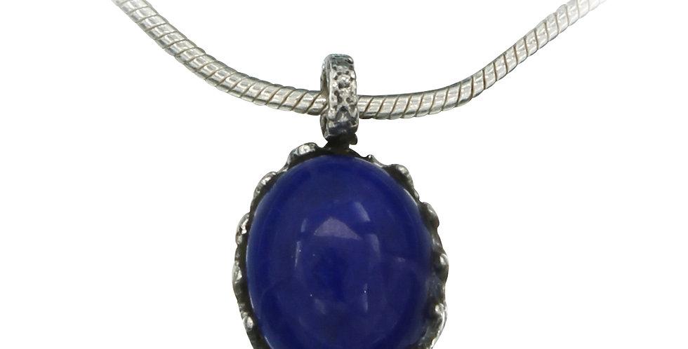 Sølvvedhæng med lapiz lazuli sten - halskæde med blå sten - slangekæde med lapis lazuli