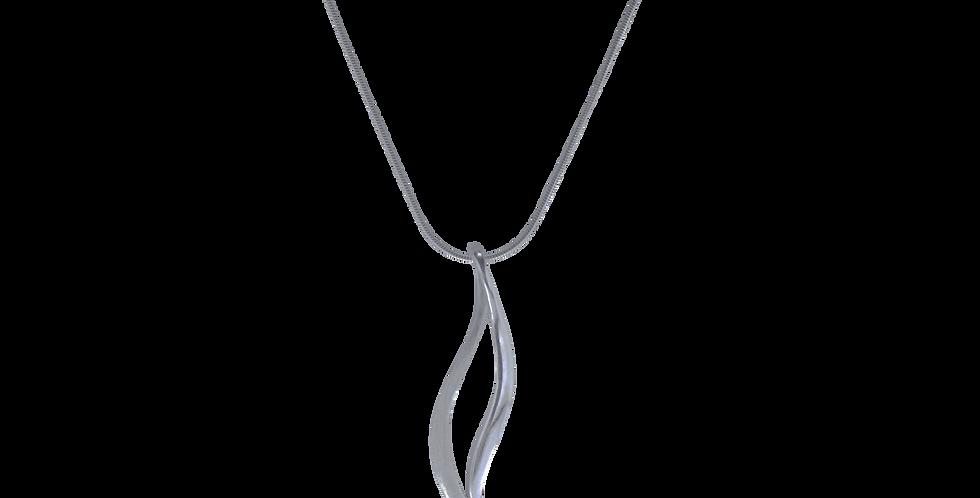 Sølvhalskæde med snoet vedhæng - halskæde med spidst vedhæng - simpelt design - sølvhalskæde med slangevedhæng