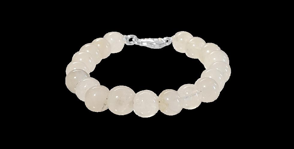 Armbånd med hvide/transparente jadebeads