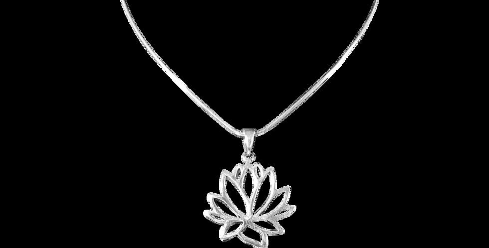 Spinkel slangehalskæde med lotusvedhæng - blossom